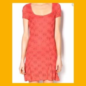 Free People Coral Lace Mini Dress